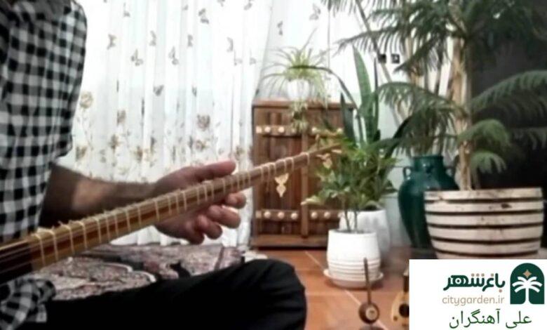 سهتار نوازی علی آهنگران هنرمند باغشهر بم ساز موسیقی اصیل ایرانی